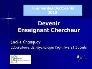 Devenir  Enseignant Chercheur