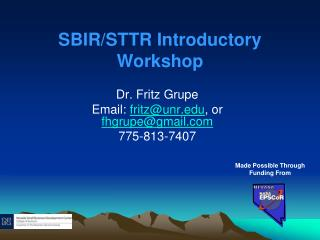 SBIR/STTR Introductory Workshop