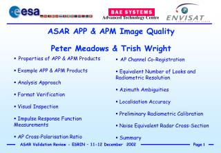 ASAR APP & APM Image Quality Peter Meadows & Trish Wright
