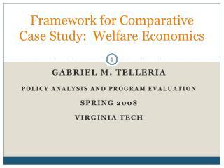 Framework for Comparative Case Study:  Welfare Economics