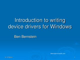 Introduction to writing device drivers for Windows