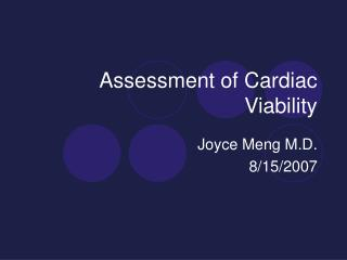 Assessment of Cardiac Viability