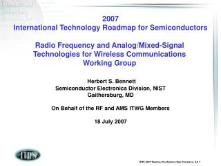 2007 International Technology Roadmap for Semiconductors  Radio Frequency and Analog