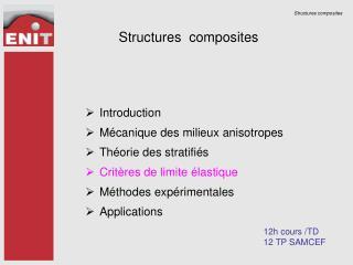 Introduction Mécanique des milieux anisotropes Théorie des stratifiés Critères de limite élastique