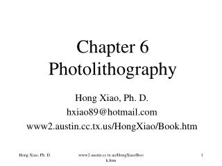 Chapter 6 Photolithography