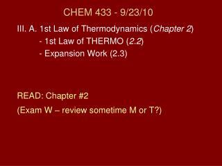 CHEM 433 - 9/23/10