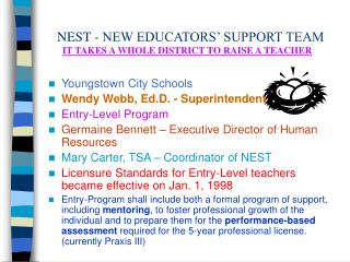 NEST - NEW EDUCATORS' SUPPORT TEAM IT TAKES A WHOLE DISTRICT TO RAISE A TEACHER