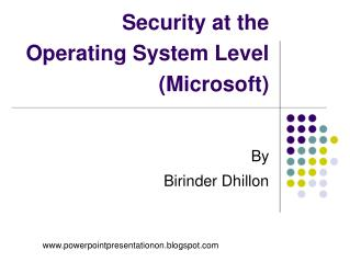 Security at the Operating System Level (Microsoft)