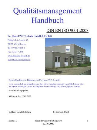 Qualit�tsmanagement Handbuch