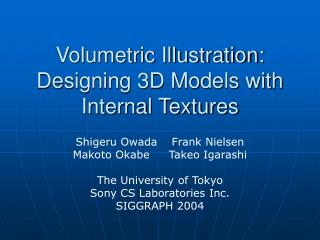Volumetric Illustration: Designing 3D Models with Internal Textures