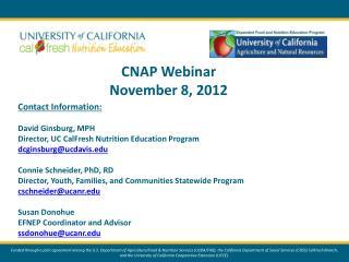 CNAP  Webinar November 8, 2012