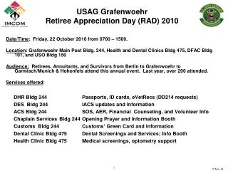 USAG Grafenwoehr  Retiree Appreciation Day (RAD) 2010