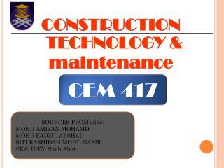 CONSTRUCTION TECHNOLOGY & maintenance