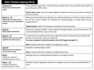 IDEA Timeline (Spring 2013)