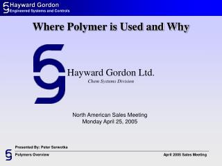 Hayward Gordon Ltd. Chem Systems Division