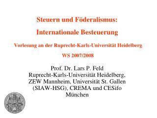 Internationale Besteuerung  Aufbau der Vorlesung