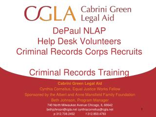DePaul NLAP Help Desk Volunteers Criminal Records Corps Recruits Criminal Records Training