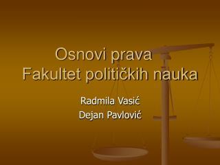 Osnovi prava Fakultet političkih nauka