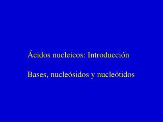 �cidos nucleicos: Introducci�n Bases, nucle�sidos y nucle�tidos