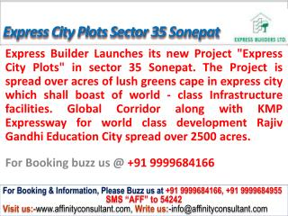Express kmp City Plots Sonepat @09999684166