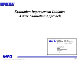 Evaluation Improvement Initiative A New Evaluation Approach