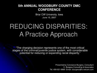 REDUCING DISPARITIES: A Practice Approach