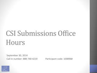 CSI Submissions Office Hours
