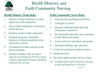 Health Ministry and                               Faith Community Nursing