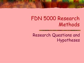 FDN 5000 Research Methods