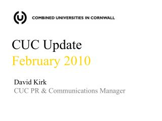 David Kirk CUC PR & Communications Manager