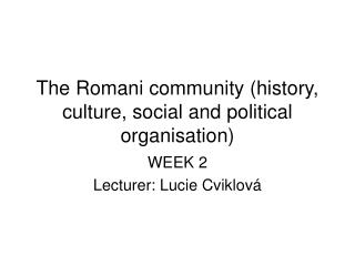 The Romani community (history, culture, social and political organisation)