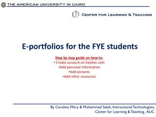 E-portfolios for the FYE students
