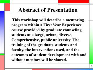 Abstract of Presentation