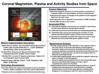 Coronal Magnetism, Plasma and Activity Studies from Space