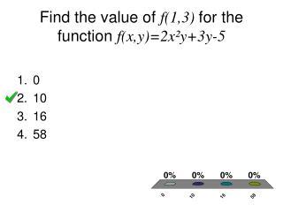 Find the value of  f(1,3)  for the function  f(x,y)=2x²y+3y-5