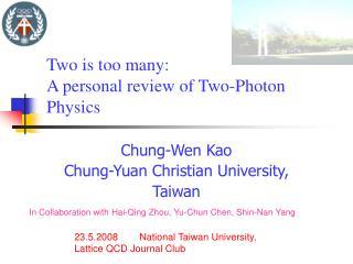 Chung-Wen Kao Chung-Yuan Christian University, Taiwan