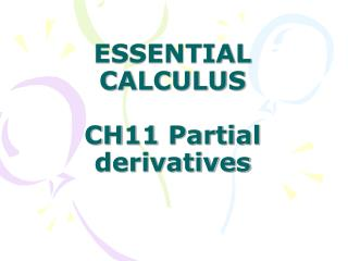 ESSENTIAL CALCULUS CH11 Partial derivatives