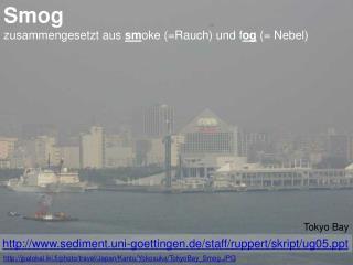 Smog zusammengesetzt aus  sm oke (=Rauch) und f og  (= Nebel)