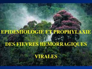 EPIDEMIOLOGIE ET PROPHYLAXIE DES FIEVRES HEMORRAGIQUES VIRALES