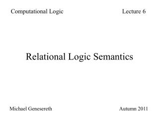 Relational Logic Semantics