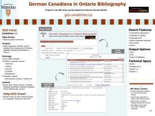German Canadiana in Ontario Bibliography