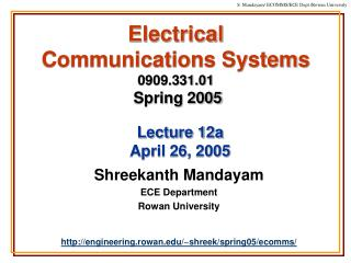 Electrical  Communications Systems 0909.331.01 Spring 2005