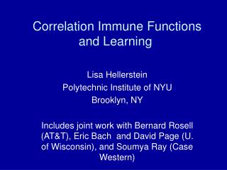 Correlation Immune Functions and Learning