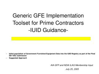 Generic GFE Implementation Toolset for Prime Contractors -IUID Guidance-