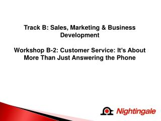 Track B: Sales, Marketing & Business Development