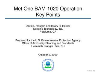 Met One BAM-1020 Operation  Key Points