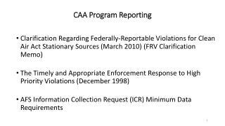 CAA Program Reporting