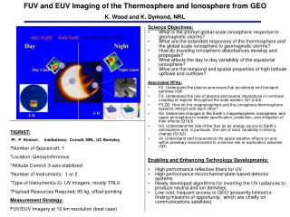FUV and EUV Imaging of the Thermosphere and Ionosphere from GEO K. Wood and K. Dymond, NRL