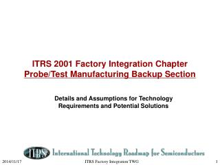 ITRS 2001 Factory Integration Chapter  Probe/Test Manufacturing Backup Section