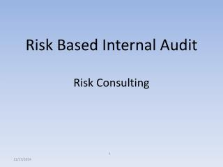 Risk Based Internal Audit Risk Consulting